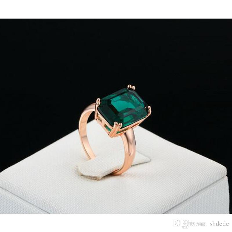 Stylish ol 18K Rose Gold Plated square green crystal No nickel no lead no cadmium R700