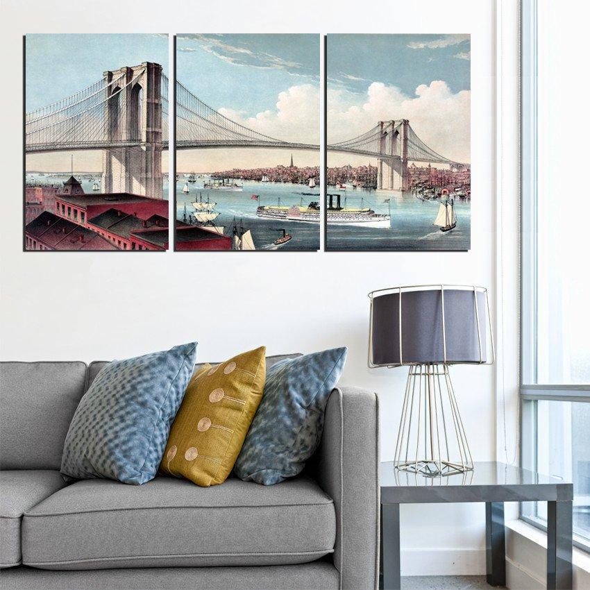 Çerçevesiz 3 Parça Ücretsiz Kargo Tuval Baskılar Vahşi çiçek tavuskuşu çince karakterler gül petal Brooklyn Köprüsü Krizantem ağacı su
