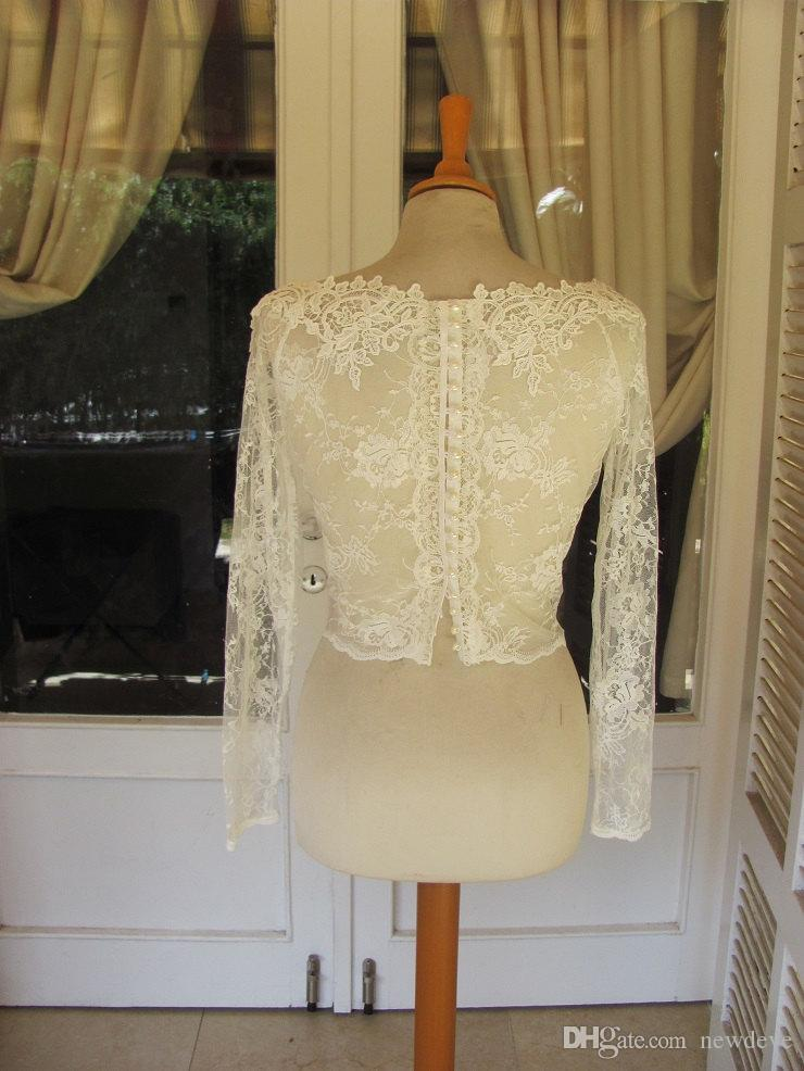 Sexy V Neck Wedding Jacket Bolero Appliques Lace Transparent Bridal Accessories White Ivory Long Sleeves Shrugs