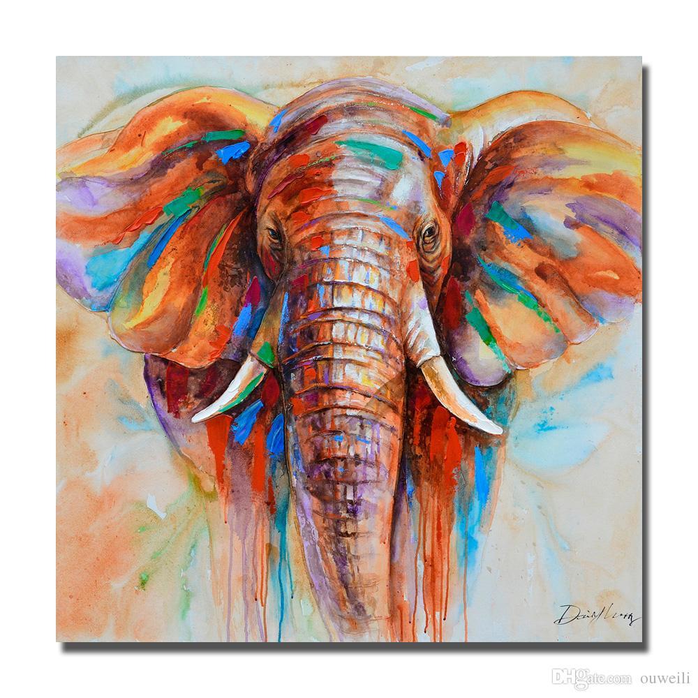 pittura di grande arte tela a buon mercato a mano pittura a olio dipinta africano immagini di animali selvatici parete elefante olio