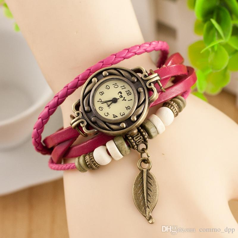 Fashion women s Bracelet Watches Braided Leather multi layer Bronze leaf Charm wrist watches For Ladies Round Case Quartz Watches Jewelry