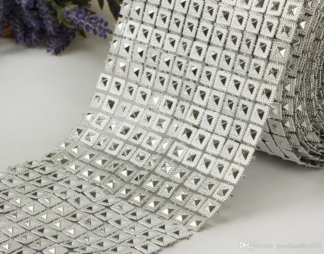 10yard 12row Pyramid Studs Spots Bendable Mesh Wrap Roll Chain Trim For Sewing Apperal Bag Shoes Cap Decoration