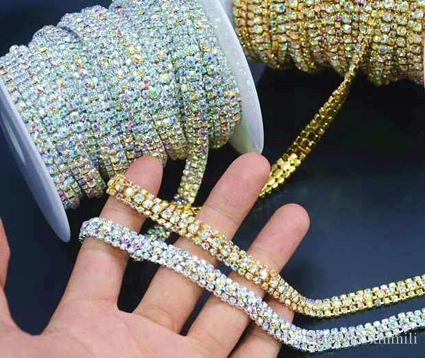 5yard 9mm Diamante Rhinestone Crystal AB 3Rows Trim Silver Tone Cake Banding Decoration/ Garment bead Accesorry
