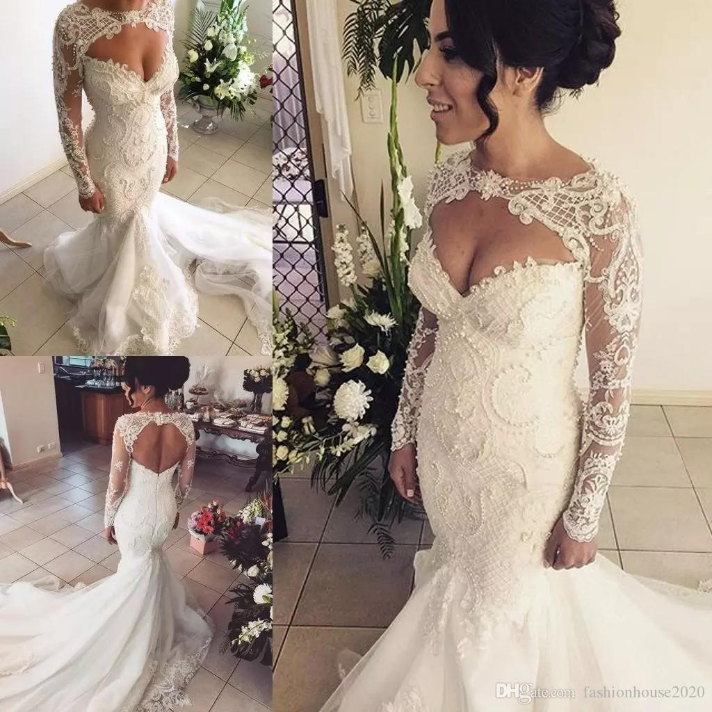7b14f5a4a3a 2018 Mermaid Wedding Dresses Luxury Keyhole Lace Applique Beads Pearl Long  Sleeves Hollow Back Court Train Plus Size Formal Bridal Gowns Oleg Cassini  ...