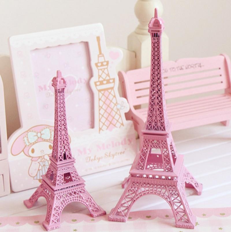 25cm 10 Inch Pink Paris Eiffel Tower Model Metal Art Crafts Unique