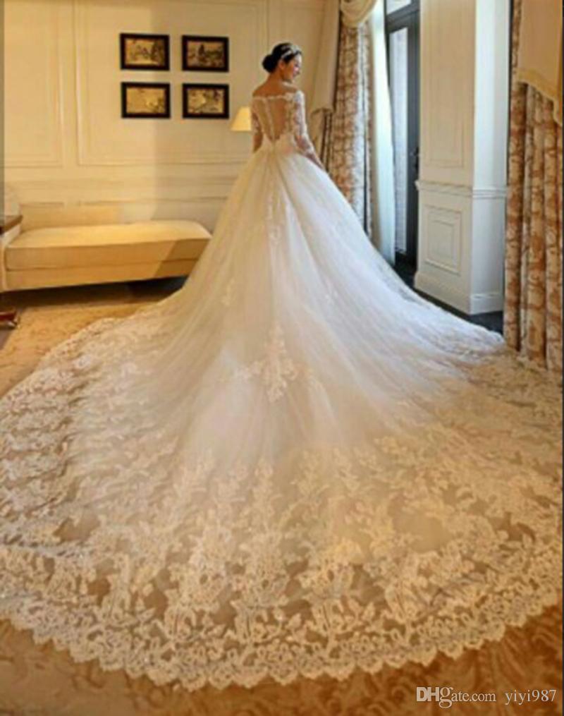 Le immagini reali splendidi abiti da sposa 2019 Mezza Maniche Illusion Corpetto overskirts scollatura a V lungo Steven Khalil Abiti da sposa Dress