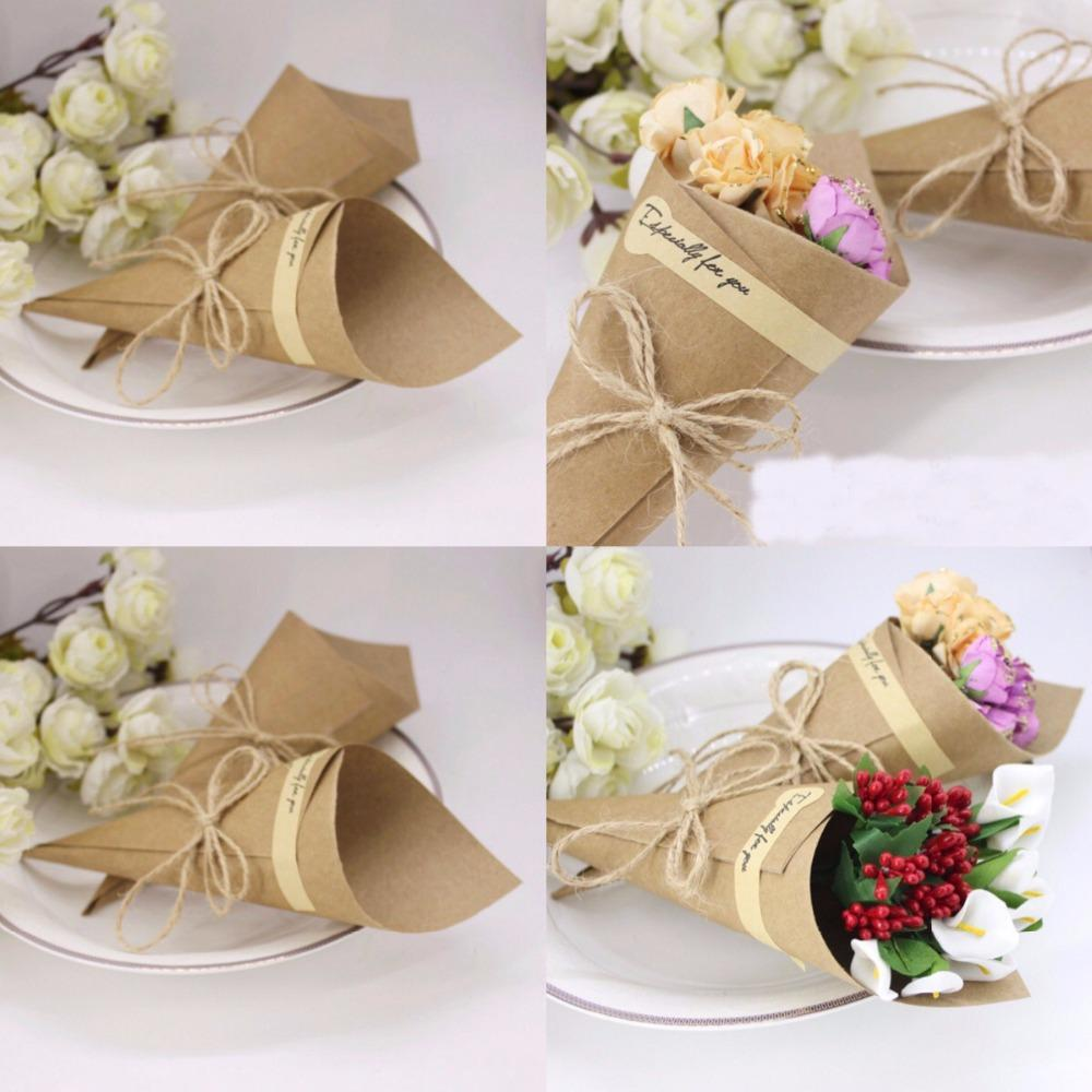 Wedding Favors Flower Cones Holder Ice Cream Style DIY Brown/Black ...