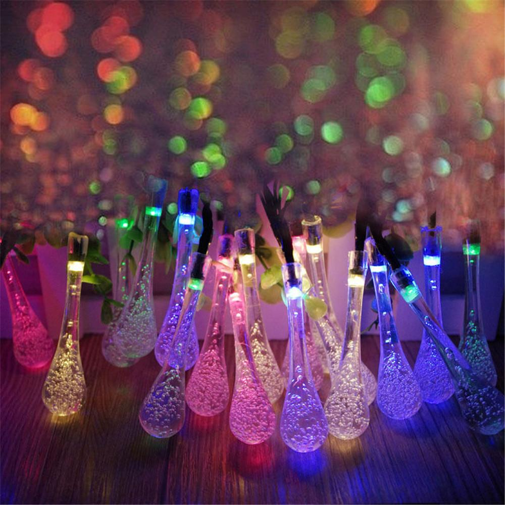 20 LED Solar Powered Water Drop String Lights LED Fairy Light for Wedding Christmas Party Festival Outdoor Indoor Decoration