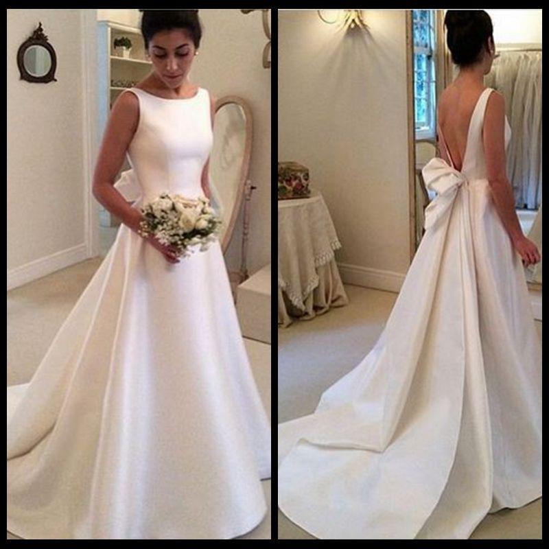 간단한 백리스 리본으로 라인 새틴 웨딩 드레스 Vestidos de Noiva 우아한 사천 넥 신부 웨딩 드레스 사용자 지정 만든