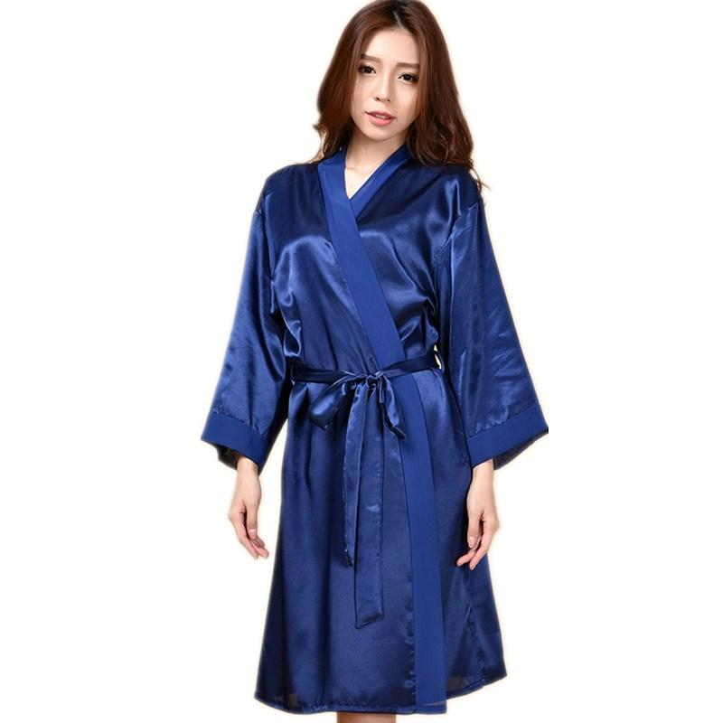 Wholesale- Navy Blue Hot Sale Summer Silk Chiffon Robe New Style ... f3038121e