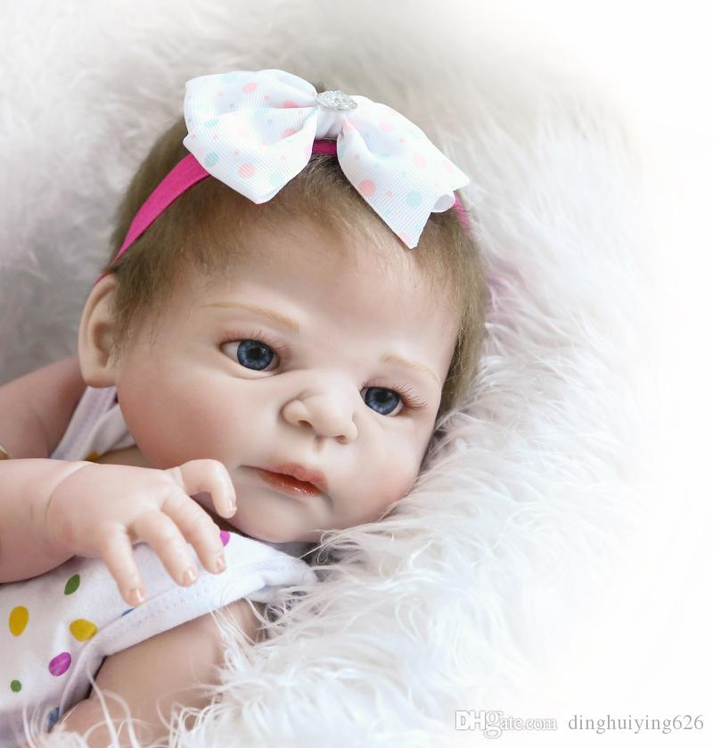 22 inch Victoria ANATOMICALLY CORRECT Full Vinyl Body Girl Reborn Doll Girls Christmas Gift Play Dolls Toy with Bow