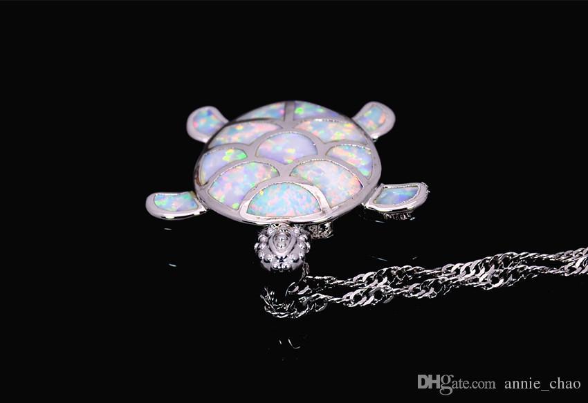 Venta al por mayor al por menor joyería de moda fina blanco fuego ópalo tortuga marina piedra astilla colgantes y collar para mujer PJ17082713