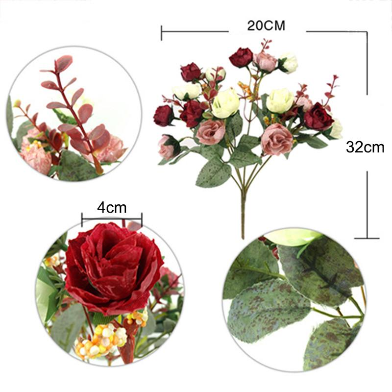 Artificial Bouquet Rose Colorful Silk Flower Capable Fake Flowers For Beauty Home Party Wedding Decor New