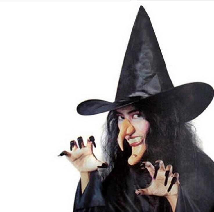 Хэллоуин ведьмы шлем мастер крышка шлема чисто черного Шпиль шляпа Оксфорд партия Witch Sexy UniformCostumes шапка для женщин и детей
