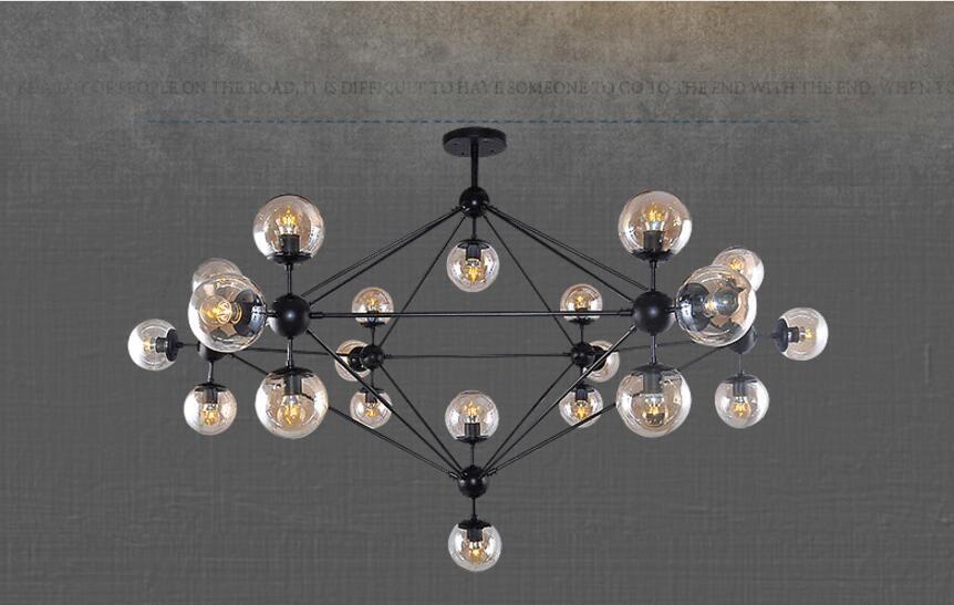 Vintage Art Ceiling Light Hotel Living Room Villa Decor LED Chandelier Pendant Lamps E27 Industrial Glass Chandelier with Glass Balls