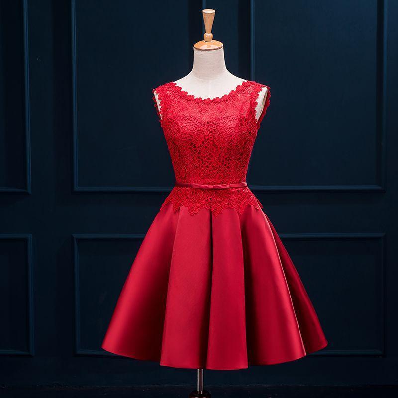 Lace Satin Short Brautjungfernkleid mit U-Ausschnitt 2019 Knielanges Partykleid Lace Up Brautjungfernkleider