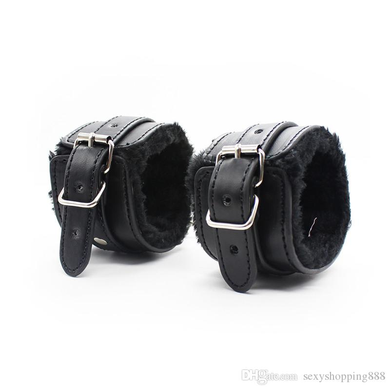Fetish Plush Faux Fur Leather BDSM Bondage Kit for Couples Sex Slave Game Restraint Hogtie Set Wrist Ankle Cuffs Neck Collar whip