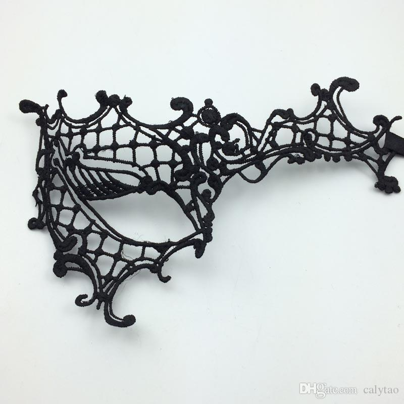 Sexy Black Lace Mask Catwoman Mask Batman Veil Halloween Mask Venetian Mardi Gras Eye Mask Luxury Princess Mascara Party Masks