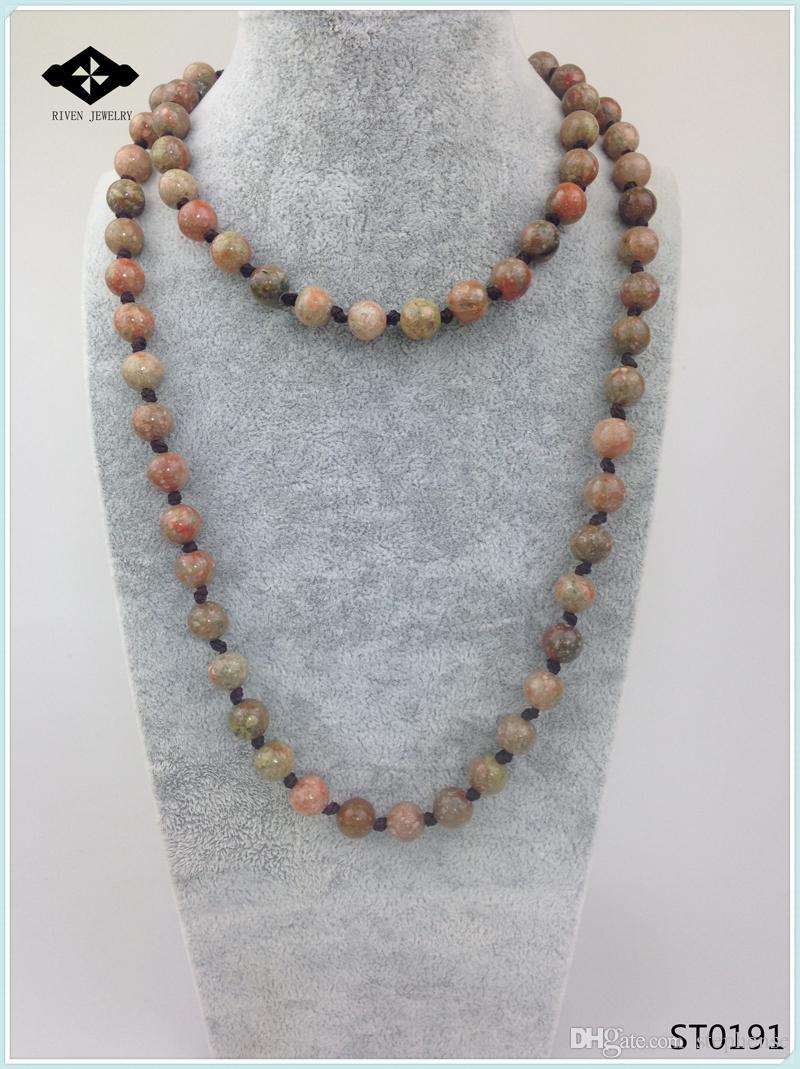 ST0190 32 inches Long Necklace Knotted Stone Amazonite Jasper Unakite Semi Precious Stone Necklace for women