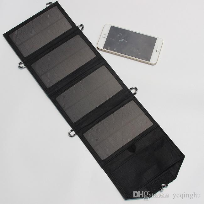 NEW 7W 5V Portable Folding Mono Solar Panel Charger USB Output Controller Pack For Phones Black Waterproof