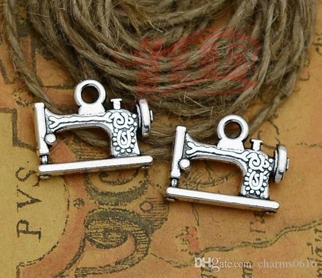 40 40 Hot Fashion Sewing Machine Charms Antique Silver Alloy Simple Pandora Sewing Machine Charm