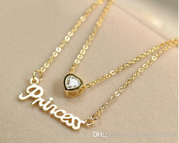 Lady Letter Princess Collane Stile coreano Cristallo Pendente amore 2 Catene a strati Collana con pendente in oro rosa placcato gioielli regalo di Natale