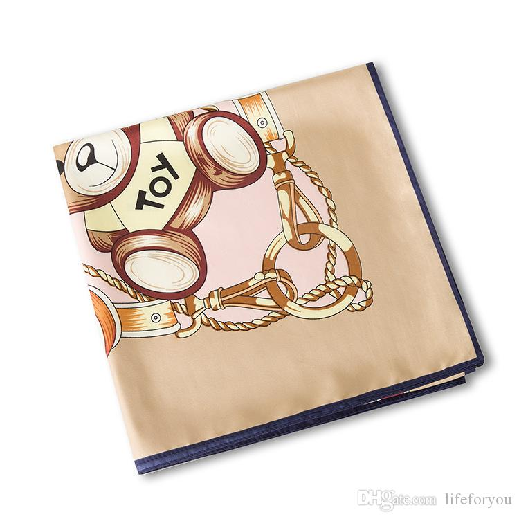 Silk Printing Scarf Bear Kerchief fashion Scarves women ladies top grade muffler long Chiffon Lovely Bandanna Wrap Shawl