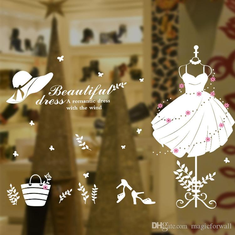 White Beautiful Dress Wall Quote Decal Stickers Dress Hat Heels Words Glass Window Decoration Wall Applique Fashion Clothes Wall Poster