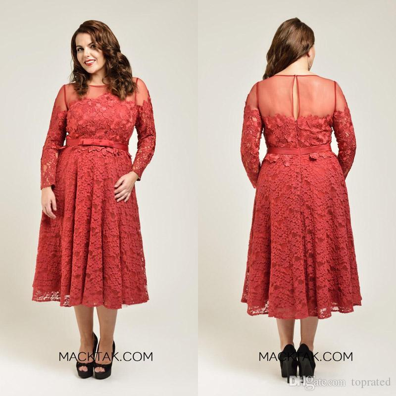 4643183873e 2016 Coral Plus Size Mother Of Bride Dresses Tea Length Lace Sheer Neck Long  Sleeves Evening Gowns 2015 Applique Ribbon High Quality Mother Of The Bride  ...