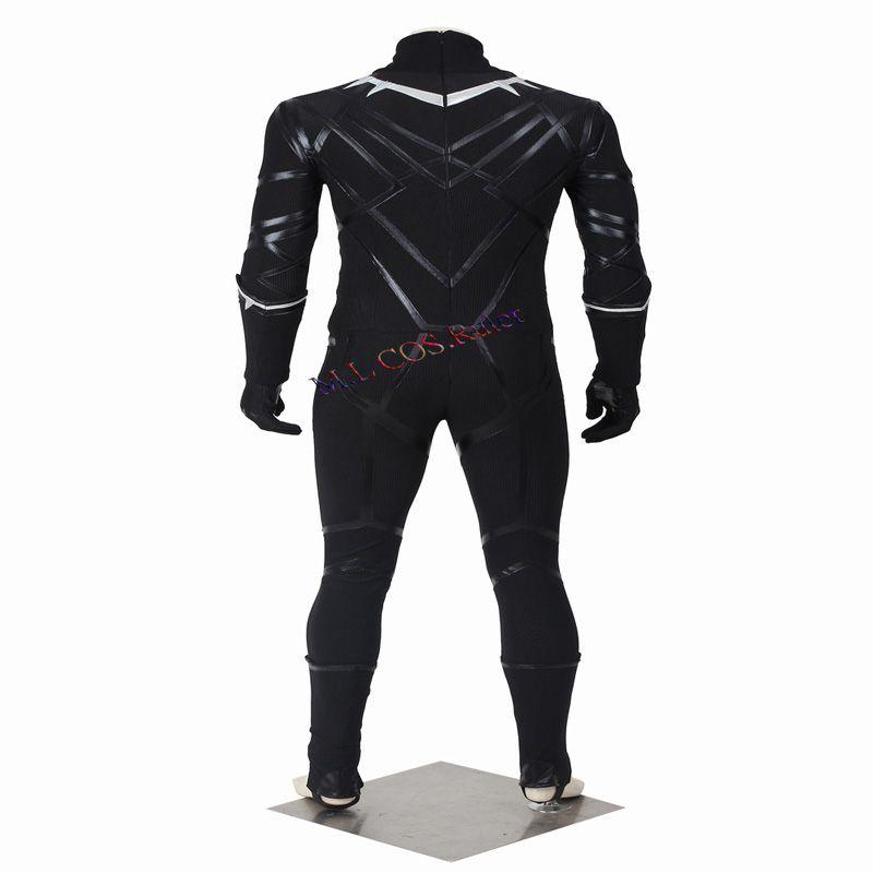 HOT Sale Halloween Captain America 3 Guerra Civile Black Panther T'Challa Cosplay Costume Chrismas Customize Lifelike
