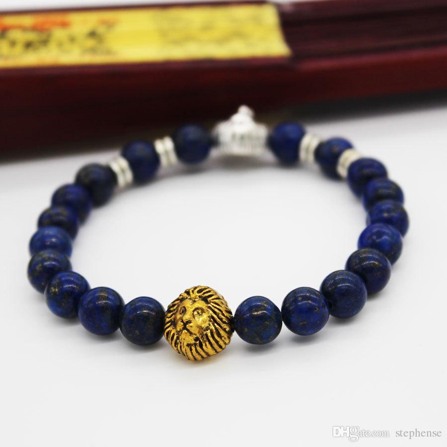 SN0637 Bracelet double tête de lion Bracelet en argent avec tête de lion perlée Bracelet Fashion Lapis pour homme