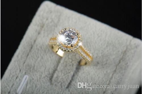 moda jóias de Victoria Wieck Mulheres 7 milímetros * 7 milímetros Branco topázio simulada diamante 925 prata esterlina redonda aliança de ouro Tamanho do Anel 5-11