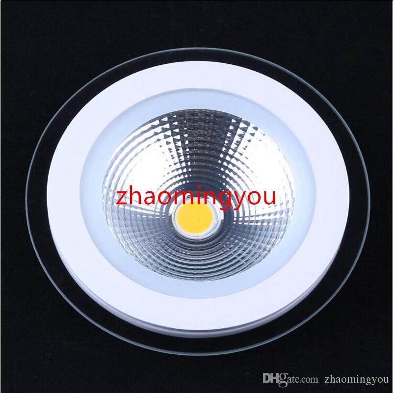 AC 85-265V 5W 10W 15W panneau de verre LED COB lumière encastré Cabinet Lampe Downlight Corps blanc Lampe Plafonnier Plafonnier éclairage intérieur