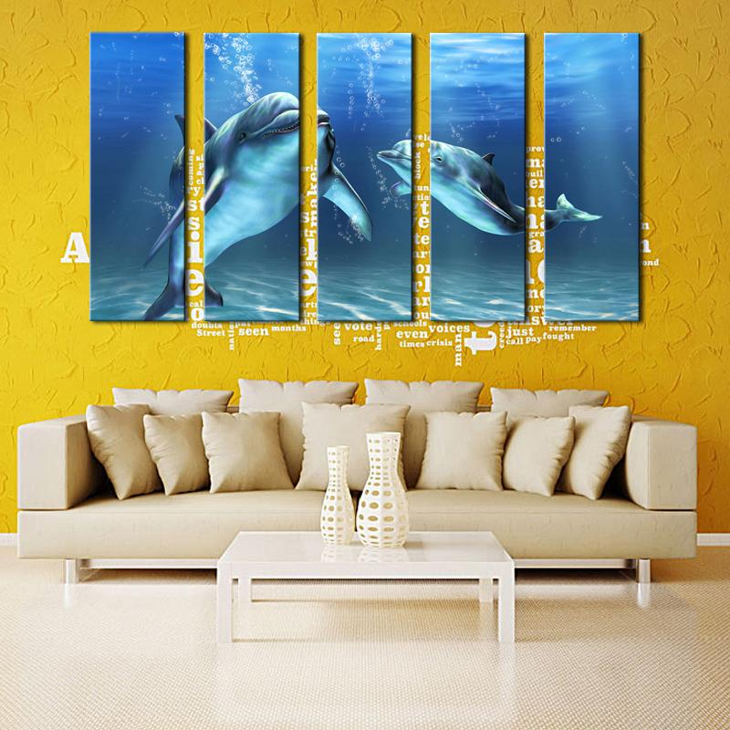2018 5 Panel Canvas Paintings Modern Artwork Dolphin Picture Print ...
