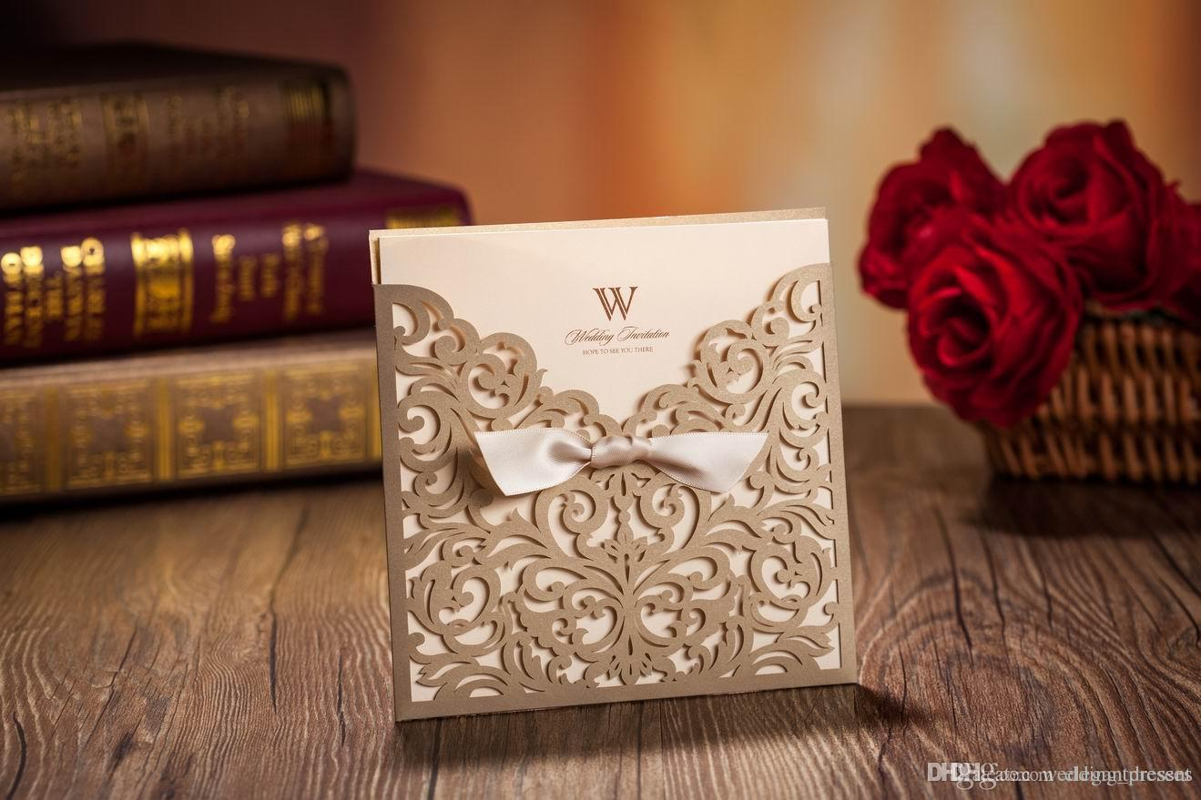 Laser Cut Flower Wedding Invitation Cards Personalized Gold Hollow Wedding Party Printable Invitation Cards Ribbon with Envelope Sealed Card