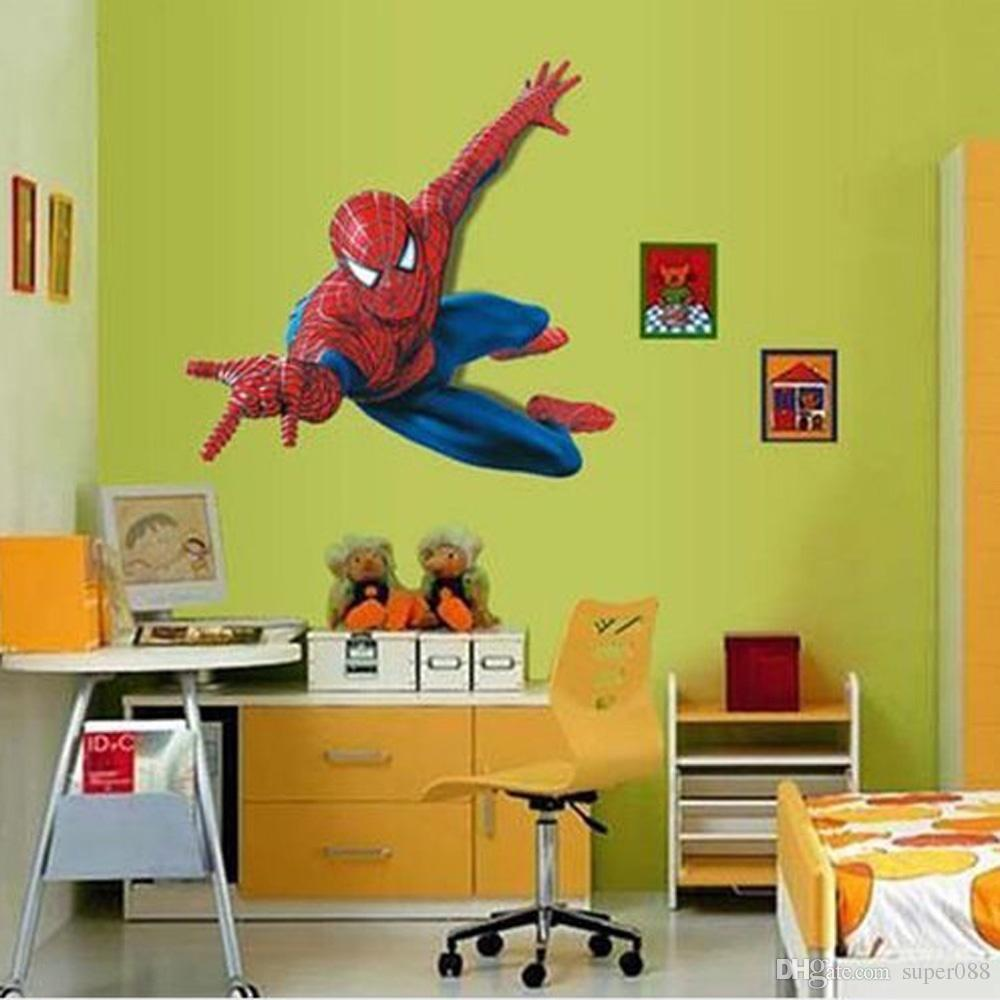3d Cartoon Spiderman Hero Wall Stickers Removable Vinly Wallpaper ...