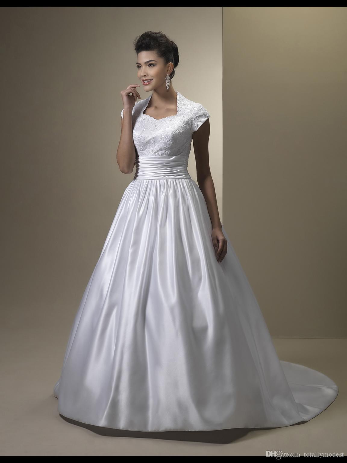 Robe De Noiva Vintage A-ligne Dentelle Satin Robes De Mariée Modestes Avec Cap Manches Col Haut Boutons Retour Modest Robes De Mariée Sur Mesure