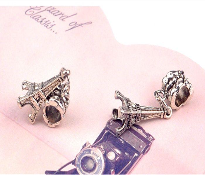 Silver Plated Bead Eiffel Tower Pendant Bead Fit Pandora Bracelets & Bangles