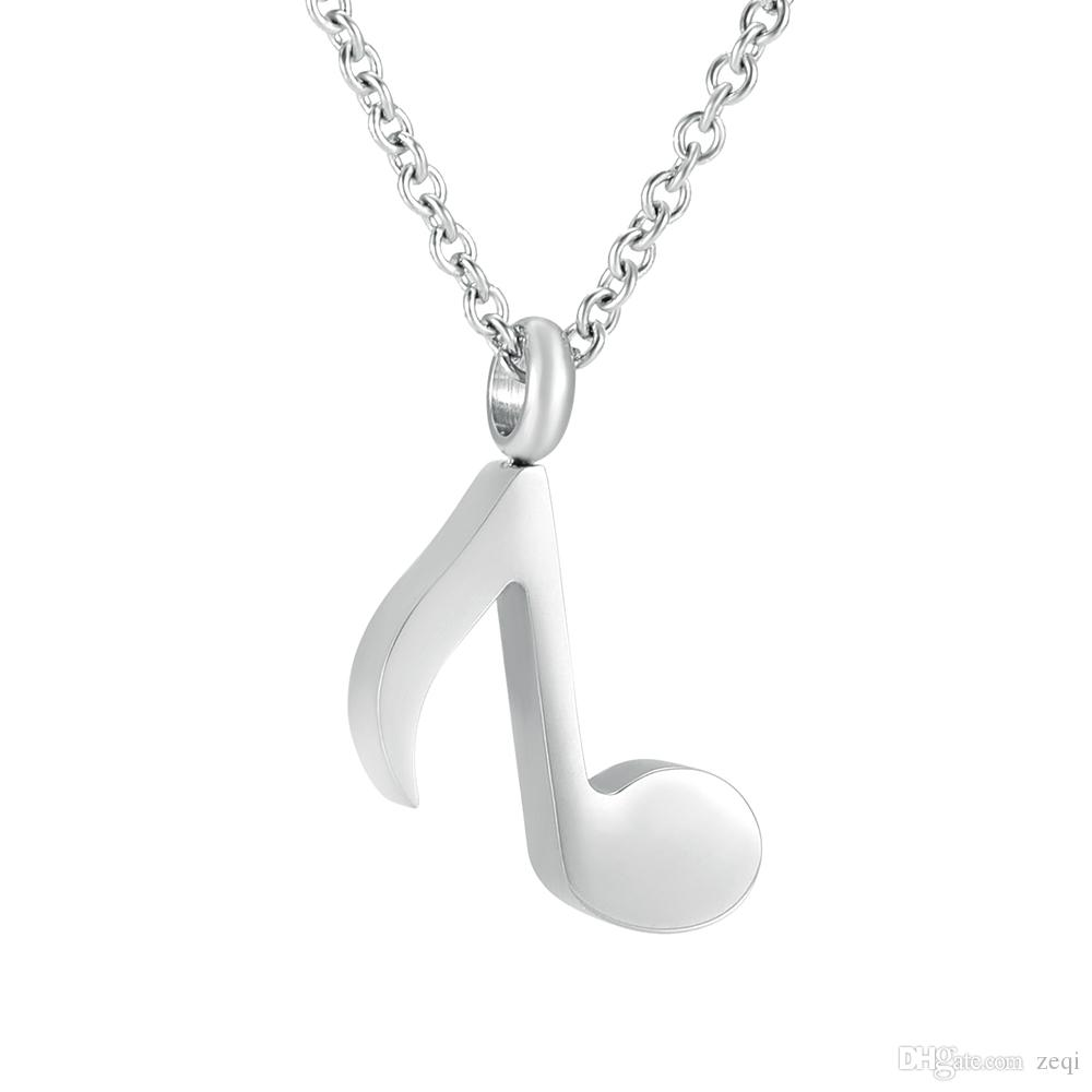 cremation memorial ashes urn Simple design stainless steel musical note Locket keepsake pendant necklace jewelry
