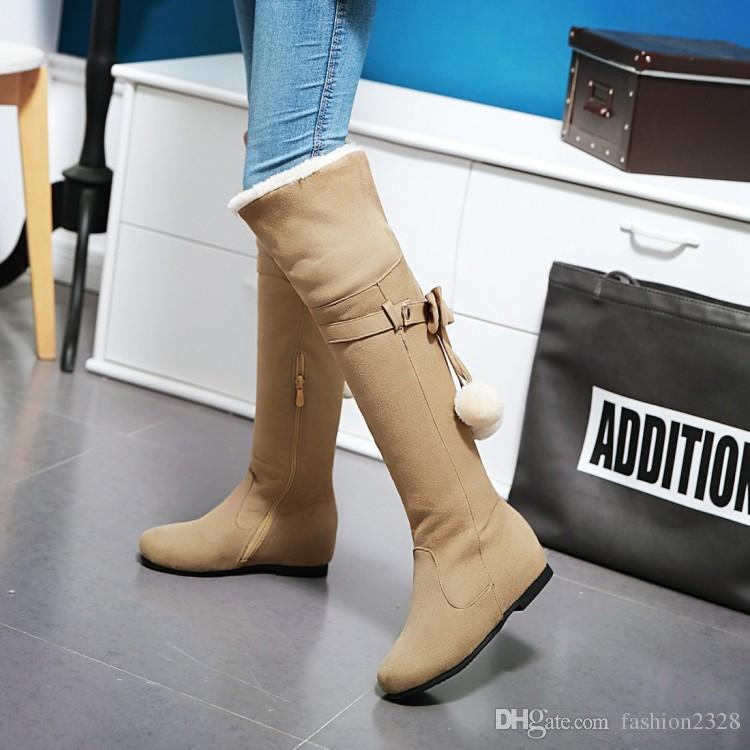 Korean style Over the Knee boots Women's Round Toes Flush Inside Snow boots Female Flat heel increased Bowties Appliques Boots