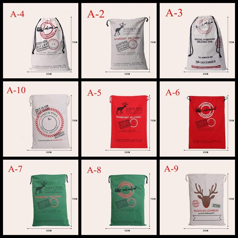Christmas Gift Sack Bags 2016 hot sale Christmas Large Canvas Bags 11styles Santa Claus Drawstring Bags With Reindeers cotton