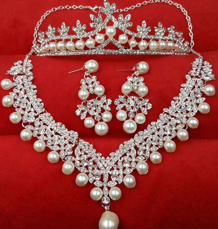 Newest Style Pearl Alloy Wedding Jewelry Bridal Jewelry Sets Three