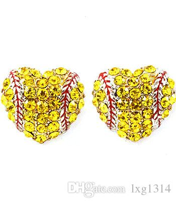 2018softballsunny usa sports softball red drop oil heart yellow crystal hook earrings studs