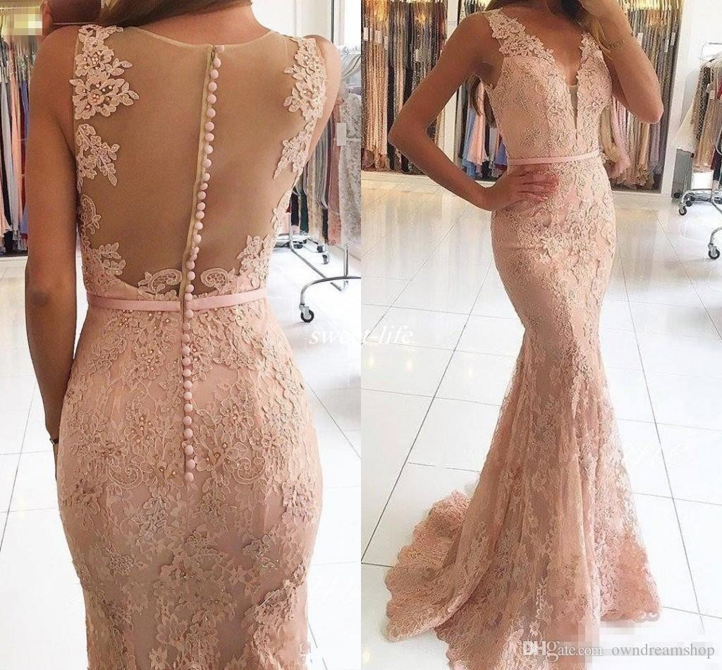Evening Dresses Wear 2017 New Sexy V Neck Illusion Lace Appliques Beaded Blush Pink Mermaid Long Sheer Back Formal Party Dress Prom Gowns