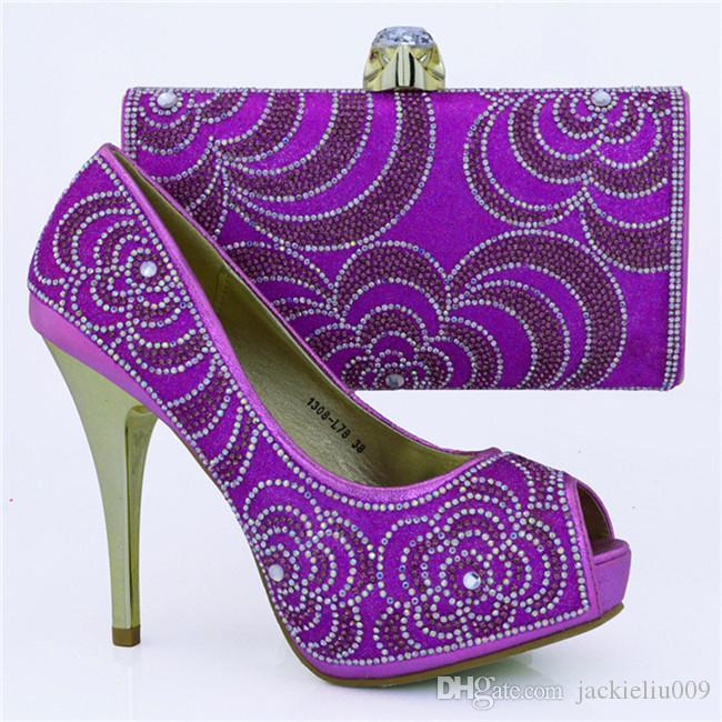 8b535664c418 Beautiful Rhinestone Pattern High Heel 12CM Ladies Pumps African Shoes  Match Handbag Set For Party Dress 1308 L78 Purple Women Shoes Boots For Men  From ...