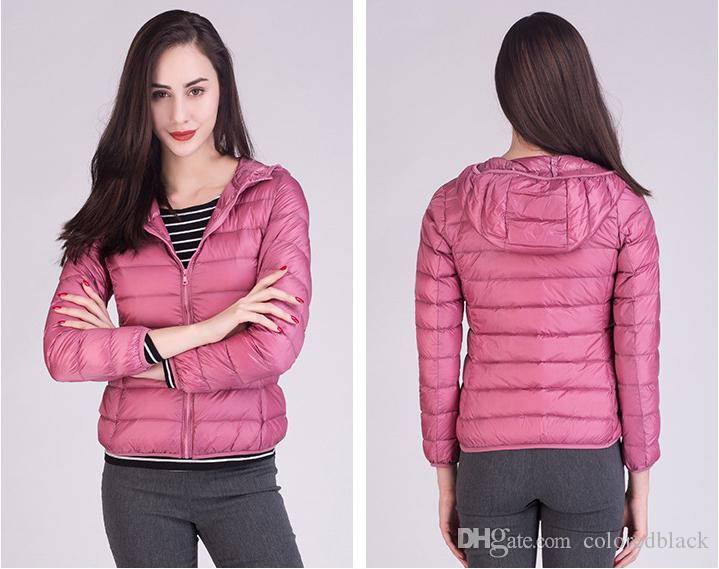 2017 Autumn And Winter New Lightweight Downs Parkas Hooded Slim Short Coat For Women White Black Red Jacket S-3XL Size Fashion