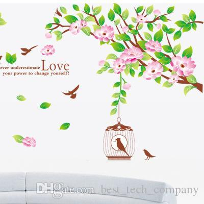 Three generations living room bedroom tv background removable sticker bird flying study background hibiscus flowers am818 star stickers for walls star wall