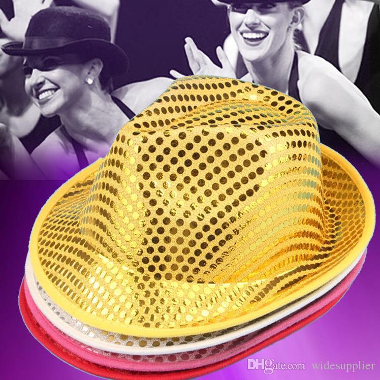 Cadılar bayramı partisi performans gösterisi sahne makyaj elbise headdress erkek ve kadın caz şapka şapka şapka boncuk pullu şapkalar