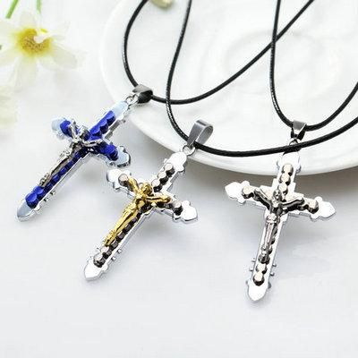 Wholesale cross necklaces jesus christ crucifix catholic cross wholesale cross necklaces jesus christ crucifix catholic cross pendant with leather chain necklace mens necklaces silver necklace from huierjew mozeypictures Image collections
