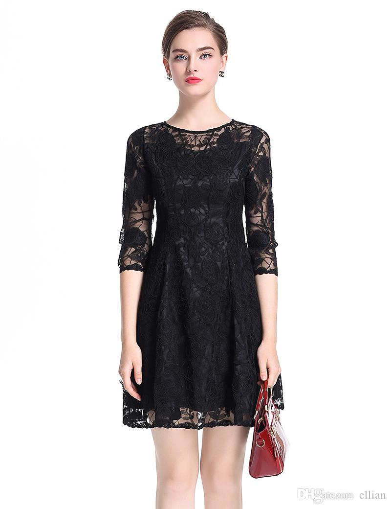 Luxury Women Embroidery A-Line Dress 3 4 Sleeve Sexy Mini Party Dresses  0917128 Embroidery Sexy Dress Online with  75.45 Piece on Ellian s Store  08dbf1000f67